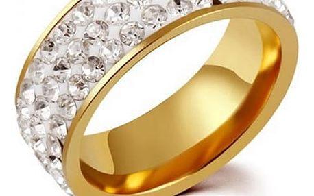 Dámský prsten s dvěma řadami třpytivých kamínků - Zlatá barva - velikost 11