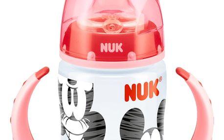NUK First Choice Láhev na učení, Disney Mickey Mouse 150 ml, silikónové pítko (6-18 m) – červená