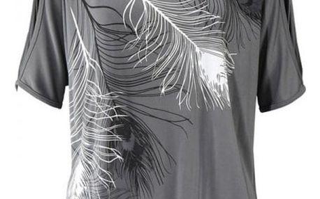 Dámské tričko s odhalenými rameny a peříčky - šedé, vel. 3
