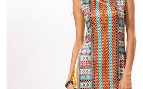Stylové letní šaty s barevnými motivy - Varianta 6, velikost 5