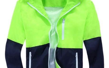 Pánská jarní bunda v zajímavých barevných kombinacích - zelená, velikost 2