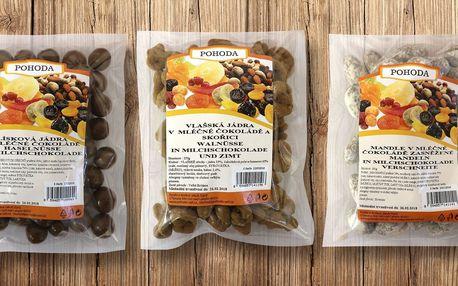 Ovoce, ořechy a mandle v mléčné čokoládě