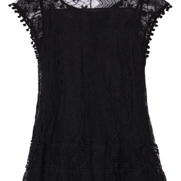 Bohémské letní šaty s krajkou a bambulkami - Černá, vel. 7