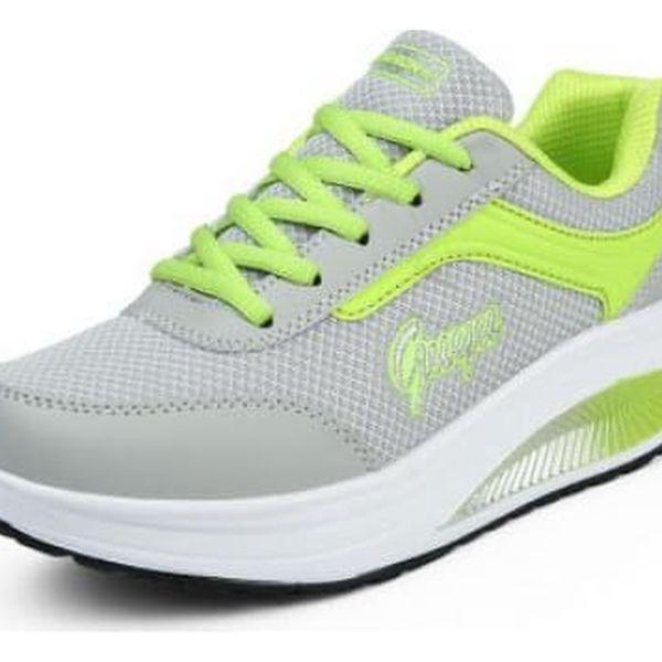 Dámská sportovní obuv s vyšší podrážkou - Zelená - 37