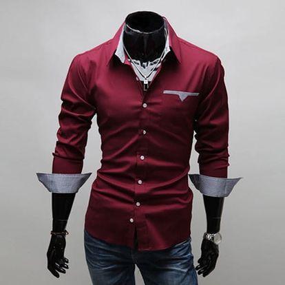 Pánská košile v ležérním stylu - Červená, velikost 5