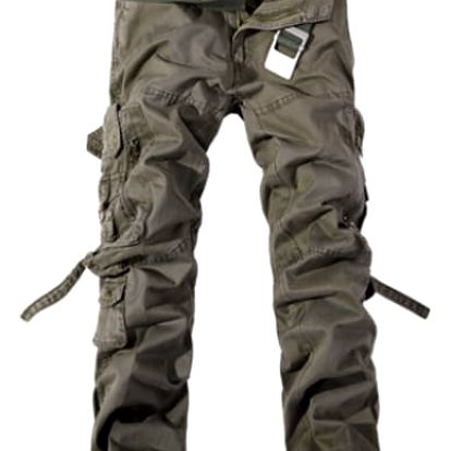 Pánské kalhoty s kapsami - Armádní zelená - 10
