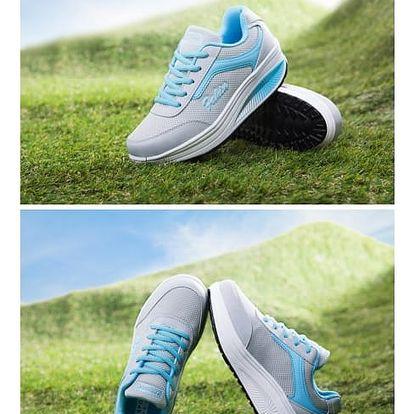 Dámská sportovní obuv s vyšší podrážkou - Modrá - 37