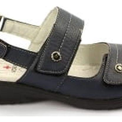 Kvalitní dámské zdravotní sandále s koženou stélkou NORN 2 modré