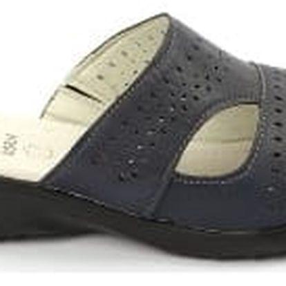 Kvalitní dámské zdravotní pantofle s koženou stélkou NORN 2 modré