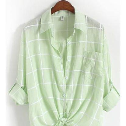 Vzdušná kostkovaná oversize košile - Zelená