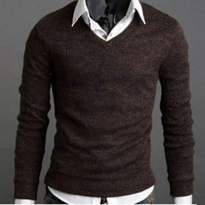 Pánský svetr - barva kávová, vel. M