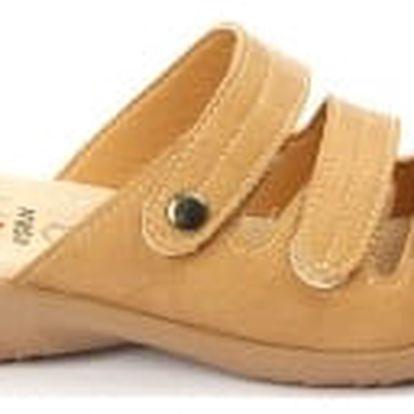 Kvalitní dámské zdravotní pantofle s koženou stélkou NORN 1 hnědé