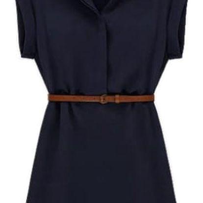 Letní košilové šaty - tmavě modrá, velikost 6 - dodání do 2 dnů