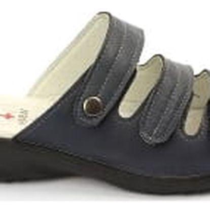 Kvalitní dámské zdravotní pantofle s koženou stélkou NORN 1 modré