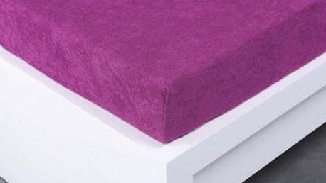 XPOSE ® Bambusové froté prostěradlo jednolůžko - švestková 90x200 cm