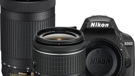 Nikon D3400 + AF-P 18-55 VR + 70-300 VR, černá - VBA490K005 + Spací pytel Alpine Pro Saltan v ceně 999 Kč