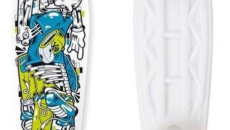 """Penny board Street Surfing Fuel Board Skelectron 21,6"""" x 6,1"""" bílý/modrý/zelený + Reflexní sada 2 SportTeam (pásek, přívěsek, samolepky) - zelené v hodnotě 58 Kč"""