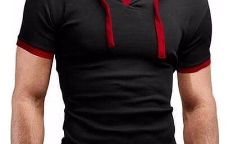 Pánské módní tričko s kapucí a knoflíčky - Černo - červená, vel. 7