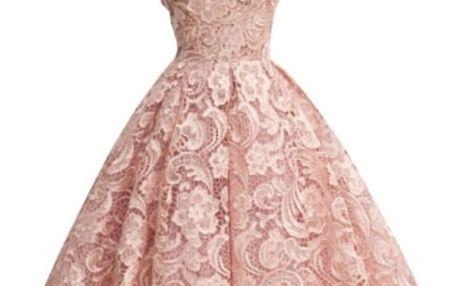 Krajkové šaty bez rukávů - růžová - 3