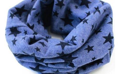 Šál pro děti s hvězdičkovým motivem - Modrý