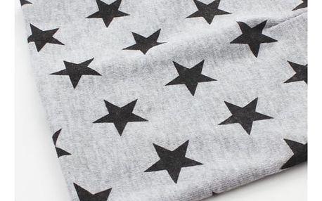 Roztomilá čepice pro děti s hvězdičkami - šedá