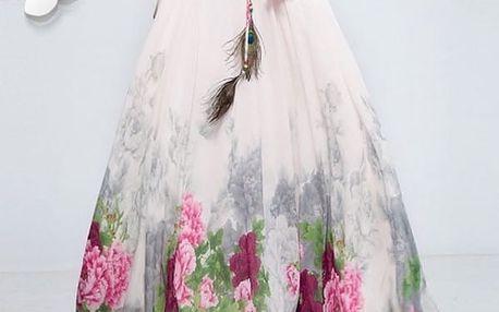 Rozmanitá sukně s ozdobným pavím pírkem na léto - dlouhá - varianta 3