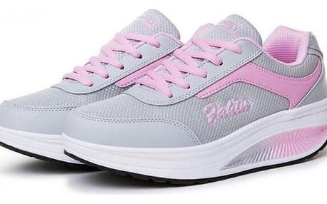 Dámská sportovní obuv s vyšší podrážkou - tmavě růžová, vel. 37