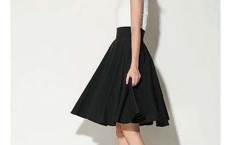 Dámská sukně široká s vysokým pasem - Černá - velikost č. 3