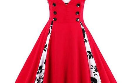 Retro šaty s puntíky - červenobílé, vel. 5 - dodání do 2 dnů