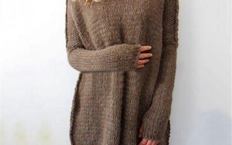 Dámský svetr s rolákem v ležérně volném stylu - kávový, vel. 2