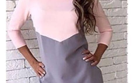 Dámské dvoubarevné šaty s delším rukávem - Růžová - 2