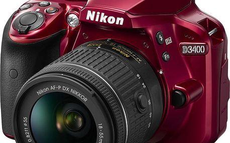 Nikon D3400 + AF-P 18-55 VR, červená - VBA491K001 + Spací pytel Alpine Pro Saltan v ceně 999 Kč