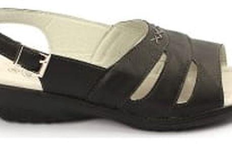 Kvalitní dámské zdravotní sandále s koženou stélkou NORN 1 černé