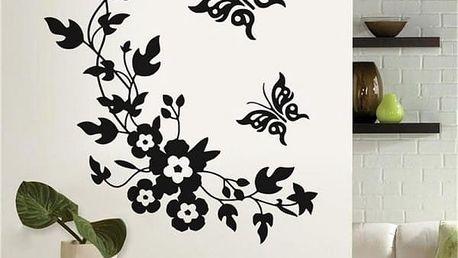 Samolepka na zeď - Květiny s motýlky - dodání do 2 dnů