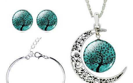 Sada náhrdelníku, náušnic a náramku v mnoha motivech - tmavě zelená č. 4