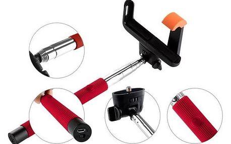 Selfie tyč GoGEN 2 teleskopická, bluetooth, červená + Doprava zdarma