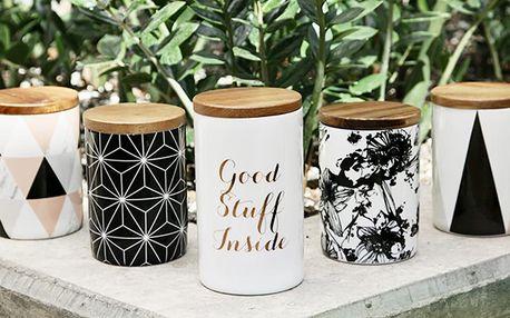 Designové porcelánové dózy PhiPhy s dřevěným víkem
