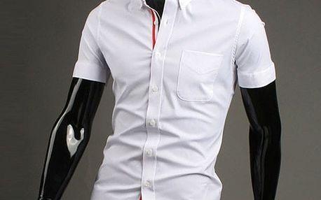 Stylová pánská košile s krátkými rukávy v různých barvách - Bílá, velikost 5