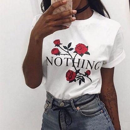 Tričko s potiskem růže a nápisem