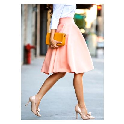 Dlouhá dámská sukně v oranžové barvě