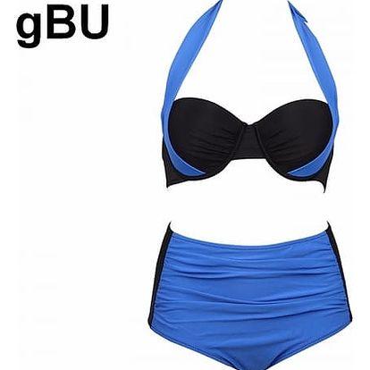 Dámské dvoudílné plavky s vysokým pasem a push-up efektem - tmavě modré, velikost 6