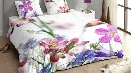 Luxusní saténové povlečení DESCANSO 9258 Feline 3D květy