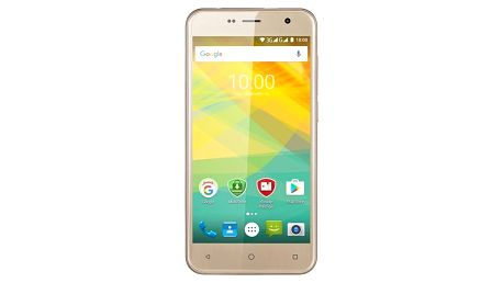 Mobilní telefon Prestigio Muze B3 Dual SIM (PSP3512DUOGOLD) zlatý SIM s kreditem T-Mobile 200Kč Twist Online Internet (zdarma)