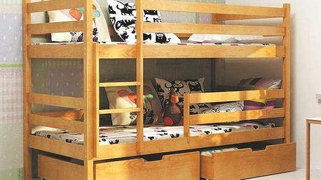 Patrová postel ERIK včetně roštu, matrace a ÚP