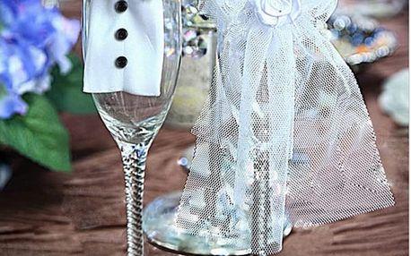 Svatební dekorace na sklenice