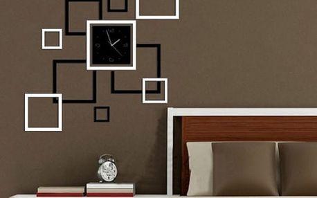 Asymetrické nástěnné hodiny se čtverci