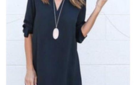 Lehké dámské šaty s dlouhým rukávem - Modrá - velikost č. 2