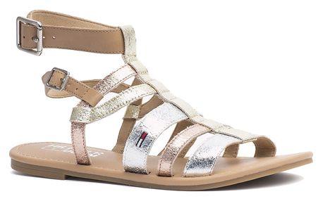 Sandály Tommy Hilfiger metalické Susy 3D Light Gold Silver - Rose Gold