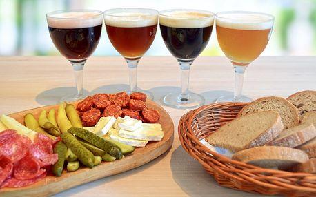 Pivní degustace a prkénko s uzeninami a sýry