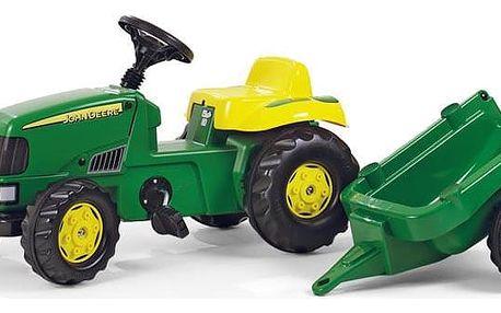 ROLLY TOYS Šlapací traktor Rolly Kid John Deere s vlečkou - zelený